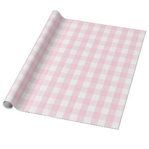 Large Light Pink and White Gingham
