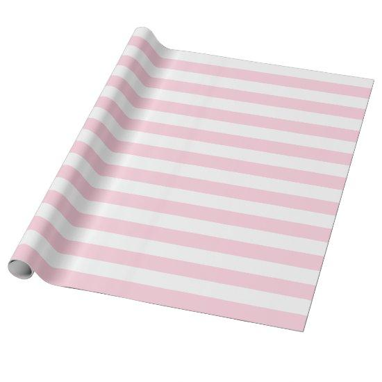 Large Light Pink and White Stripes Wrapping Paper