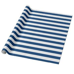 Large Navy and White Striped Line Pattern Wrapping Paper