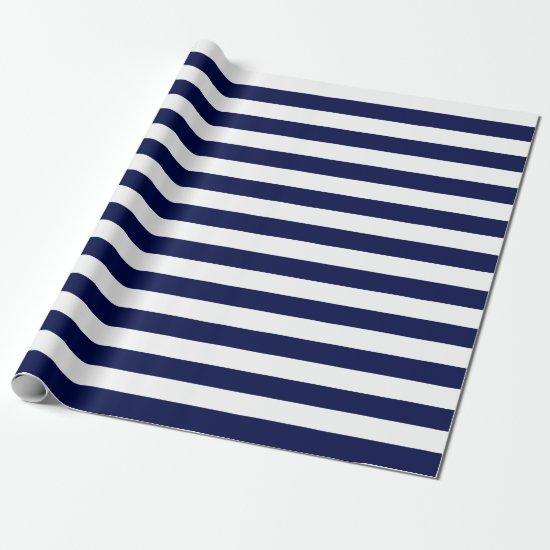 Large Navy Blue and White Stripes Wrapping Paper