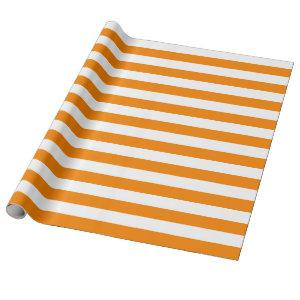 Large Orange and White Stripes Wrapping Paper