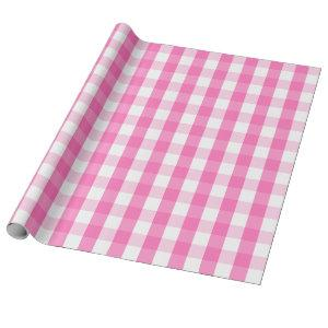Large Pink and White Gingham Wrapping Paper
