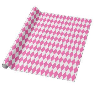 Large Pink and White Harlequin Wrapping Paper