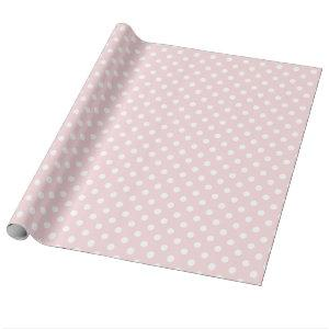 Large Polka Dots - White on Pale Pink Wrapping Paper