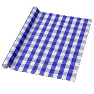 Large Royal Blue and White Gingham Wrapping Paper
