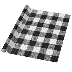 Large White and Black Chevron Buffalo Plaid Wrapping Paper