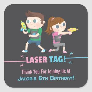 Laser Tag Game Kids Thank You Stickers
