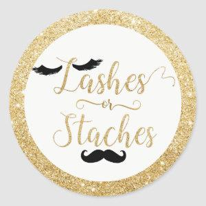 Lashes or Staches Baby Shower Gender Reveal Favor Classic Round Sticker