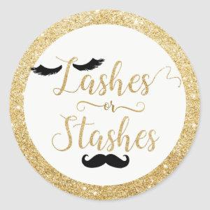 Lashes or Stashes Baby Shower Gender Reveal Favor Classic Round Sticker