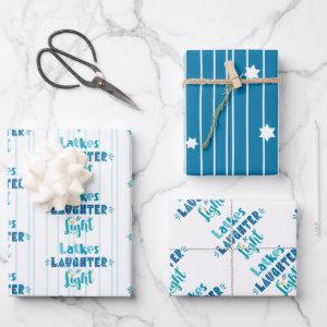 Latkes Laughter Light Modern Typography Hanukkah Wrapping Paper Sheets