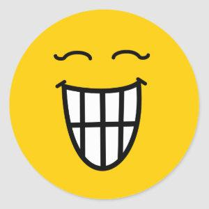 Laughing with toothy smile classic round sticker