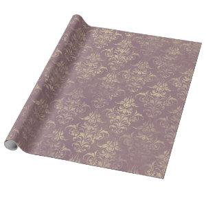 Lavender and Gold Damask Wrapping Paper