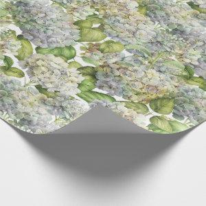 Lavender Blue Hydrangea Botanical Floral Wrapping Paper