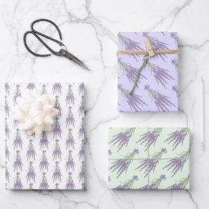 Lavender Herb Flower Bundle Patterns Wrapping Paper Sheets