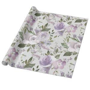 Lavender Purple Lilac Watercolor Floral Flowers Wrapping Paper