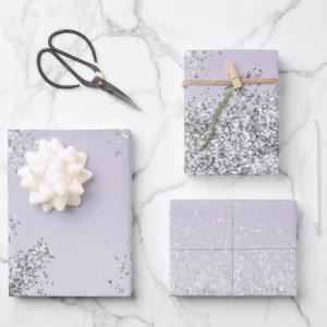 Lavender Purple Ombre Silver Glitter Sparkle Wrapping Paper Sheets