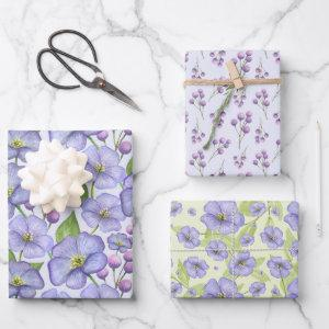 Lavender Watercolor Flowers 3 Pretty Variations  Sheets