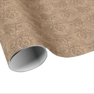 Leather Print Brown Western Tooled Leather Wrapping Paper