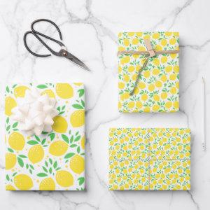 Lemon Citrus Fruit Orchard Theme Pattern Wrapping Paper Sheets