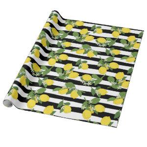 Lemon Lemons Yellow Black Stripes Gift Wrap Paper