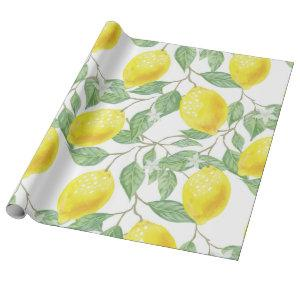 Lemon Yellow Leaves Green Pattern Wrapping Paper