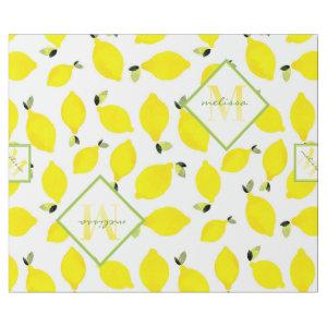 Lemons Ombre Monogram in Bright Yellow Green White Wrapping Paper