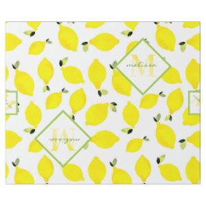 Lemons + Ombre Monogram in Yellow + Green + White Wrapping Paper