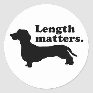 """Length Matters."" (Dachshund) Classic Round Sticker"
