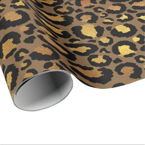 Leopard Animal Skin Gold Black Bronze African Lux Wrapping Paper