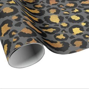 Leopard Animal Skin Gold Black Graphite African Wrapping Paper