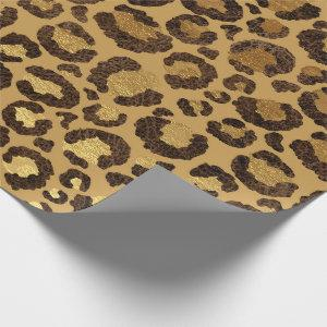 Leopard Animal White Gold Black Honey African Lux Wrapping Paper
