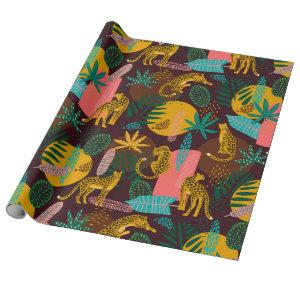 Leopard Cats Tropical Abstract Jungle Pattern Wrapping Paper