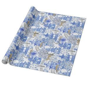 Leopard Party in the Pagoda Forest-Blue and White Wrapping Paper