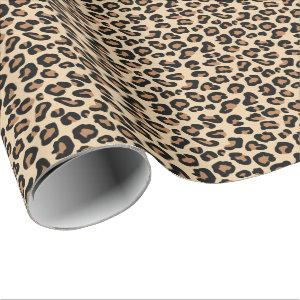 Leopard Print, Black, Brown, Rust and Tan Wrapping Paper