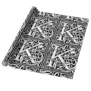 Letter K Medieval Monogram Vintage Initial Wrapping Paper