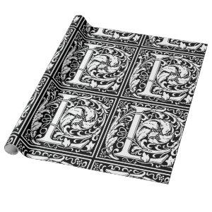 Letter L Medieval Monogram Vintage Initial Wrapping Paper
