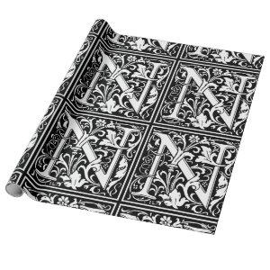 Letter N Medieval Monogram Vintage Initial Wrapping Paper