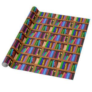 Library Book Shelf Pattern for Readers Wrapping Paper