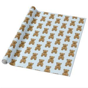 Light Blue and Brown Teddy Bear Boy's Gift Wrap