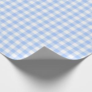 Light Blue Gingham Checks Pattern Wrapping Paper