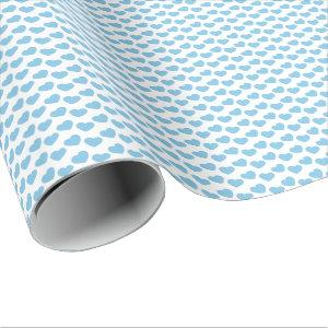Light Blue Heart Pattern on White Wrapping Paper