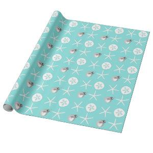 Light Blue Starfish Sand Dollar Tropical Christmas Wrapping Paper