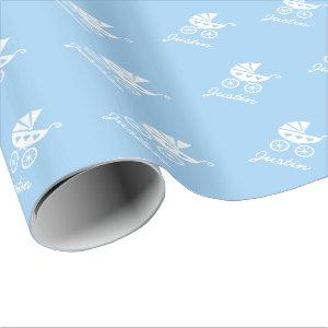 Light blue wrapping paper with cute baby carriage