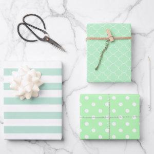 Light Green Patterned Wrapping Paper Sheets