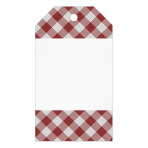 Light Maroon Red Country Cottage Gingham Stripes Gift Tags