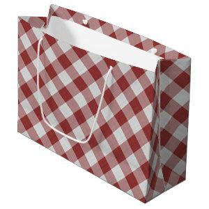 Light Maroon Red Country Cottage Gingham Stripes Large Gift Bag
