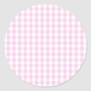 light pink and white gingham pattern preppy girly classic round sticker