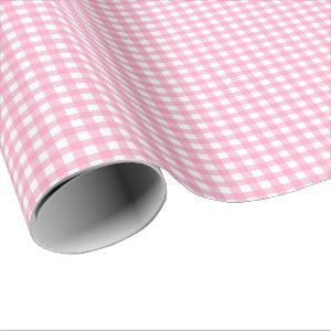 Light Pink | White Gingham Wrapping Paper