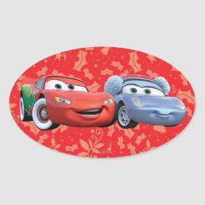 Lightning McQueen & Sally Oval Sticker