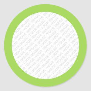 Lime green border custom image round stickers